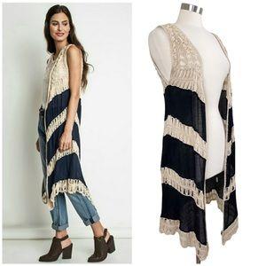 Dreamers   Boho Macrame Crochet Long Duster Vest